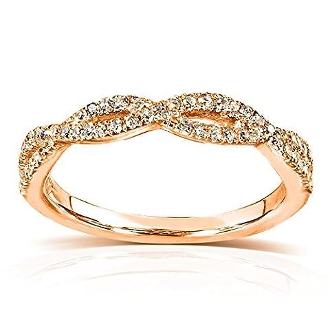 Diamant rond de mariage tressé bande 1/6carats (ctw) dans 14K