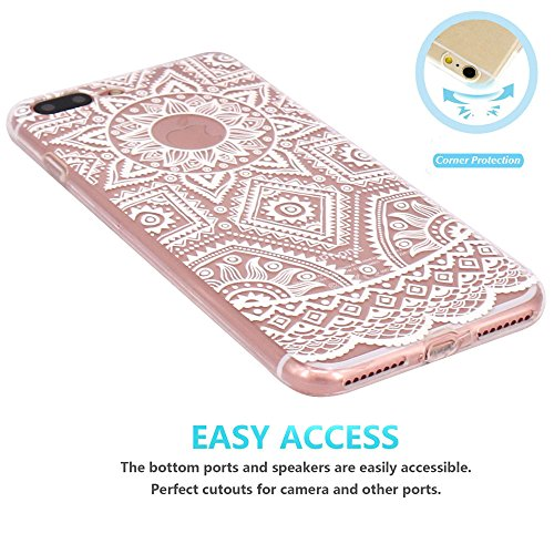 iPhone 7 Plus Hülle, JIAXIUFEN TPU Silikon Schutz Handy Hülle Handytasche HandyHülle Etui Schale Schutzhülle Case Cover Tasche Etui für iPhone 7 Plus (5,5 Zoll) - Pink White Tribal Mandala Dream Catch Color08