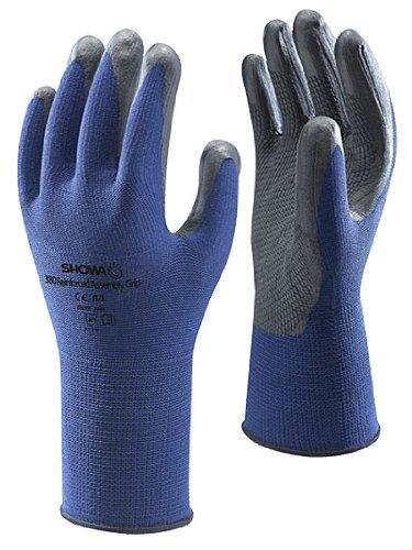 Showa 380 Blue/Black Foam Nitrile Grip Safety Gloves Size 7 / Medium - 10 Pairs by Showa