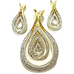 AKSHAJ Classic Gold Plated Real American Diamond Studded Pendant With Dangle and Drop Earrings Set for Women