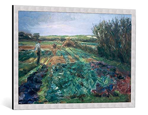 kunst für alle Bild mit Bilder-Rahmen: Max Liebermann Das Kohlfeld Kohlfeld in Noordwijk - dekorativer Kunstdruck, hochwertig gerahmt, 95x65 cm, Silber gebürstet