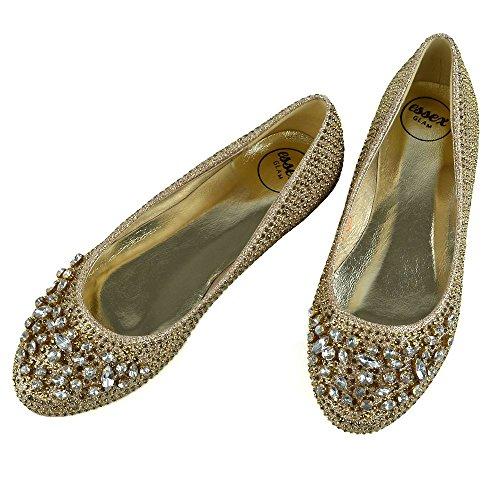 ESSEX GLAM Donna Nuziale Diamante Glitter Ballerina Scarpa Oro Glitter