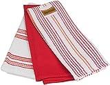 3er Pack Küchentücher, 100% Baumwolle Frottee, Waffel-Piqué, 40x60 cm Geschirrtücher, Farbe:Rot