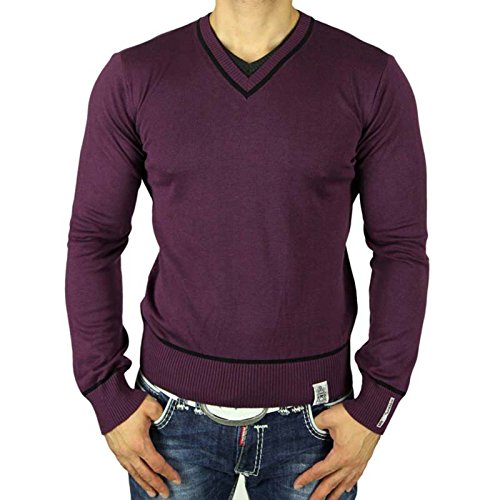 Rusty Neal Herren Sweater V-Neck Pullover Sweatshirt Pulli Strickjacke RN-5007-P Schwarz