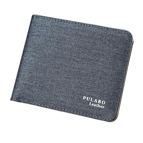 Preisvergleich Produktbild squarex Man 's Prägung Leinwand Kreditkarte Kupplung Bifold Geldbörse dünn minimalistisch Fronttasche Brieftasche grau grau AS Show