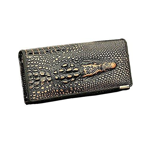 Zando da donna coccodrillo Vintage Multi Tasche vera pelle lungo Bifold Portafoglio Bronze Taglia unica