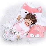Fafalloagrron 55,9 cm Silikon lebensecht lächelnde Baby-Puppen-Decke, Lätzchen, Cartoon-Einteiler, Haarklammern, Fuchskissen, Wickelkleidung, für frühere Kindheit