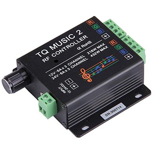 Regulador de la luz, SX-MUSIC 2 Sensibilidad Retroiluminación RF Remoto RGB 15 Modos de música Controlador de tira de luz LED con soporte de pared, soporte WiFi, color táctil, audio de 3,5 mm, inducción de despertador
