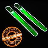 Doppelpack = 2 Stück Elastisches Reflexband Neon Grün Mit LED 35 CM Mal 3,8 CM Schnapparmband Reflektorband Sicherheitsband Leuchtband Von Amathings