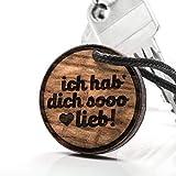 treeforce ich hab Dich sooo lieb Schlüsselanhänger, Halskette oder Auto- Anhänger 3in1 DIY Schmuck aus Kupfereiche