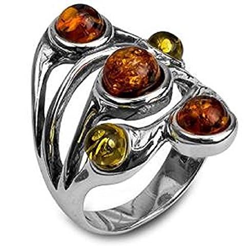 Noda bague en ambre multicolore et argent b taille