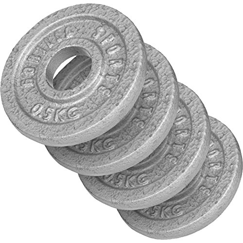 GORILLA SPORTS® Hantelscheibe Gusseisen 30 kg - Gewicht mit 30/31 mm Bohrung in Silber