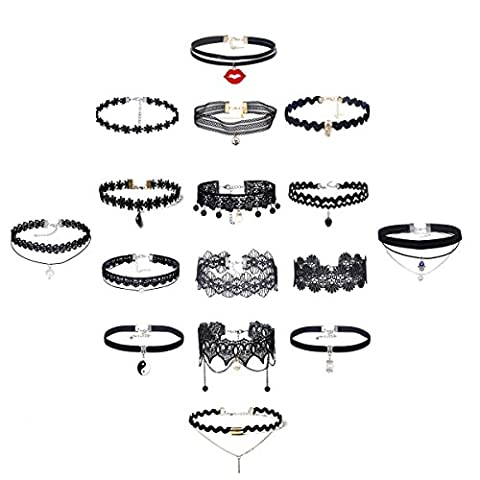 Tpocean Lot de 16 colliers gothiques ras-du-cou en velours et dentelle pour femme/fille
