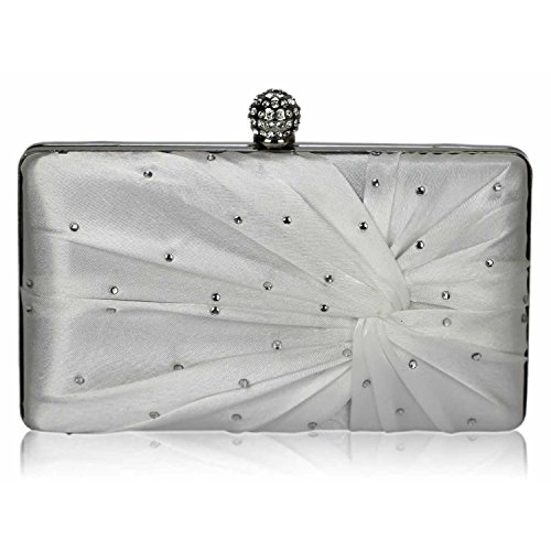 L And S Handbags Satin Crystal Clasp Evening Clutch Bag, Poschette giorno donna Ivory