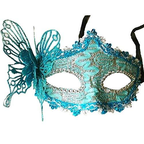 JingHeYongKeJi Frauen Art Und Weise Reizvoller Venezianische Maske Spitze-Maskerade-Masken-Halbe Gesichts-Augen-Schablone Mit 3D-Schmetterlinge ()