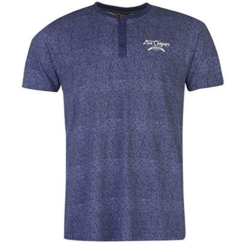 lee-cooper-hombre-textura-grandad-camiseta-casual-manga-corta-cuello-redondo-top