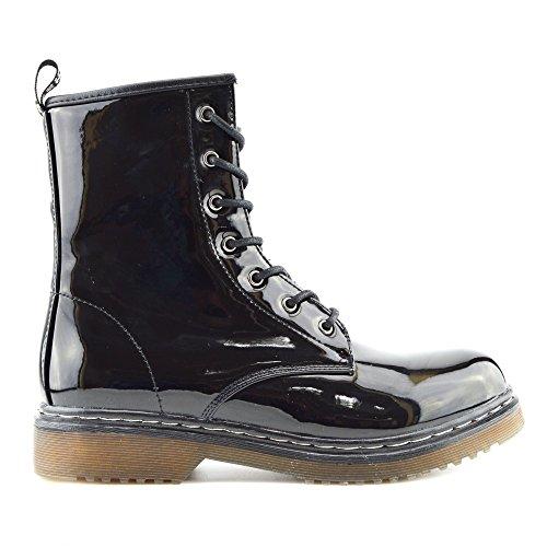 Kick Footwear Femme de la cheville rétro combat boot Femmes dentelle funky vintage gothique cheville bottes - UK 6/EU 39, Verni Noir