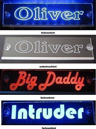Preisvergleich Produktbild Schmalz Werbeservice Trucker LKW Namensschild Größe 40x10 cm - LED Acryl Leuchtschild 12V 24V mit edler Lasergravur