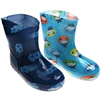 Soft Touch Baby Toddler Infant Rain/Wellington Boots. Football (Dark Blue) Fun Face (Light Blue) Designs. Available in Sizes 19-21 for Ages 15-24months.