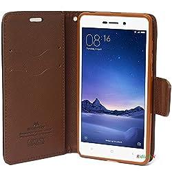 Ridivishn Flip Cover Case Wallet Style - Mi Redmi 4 (Black Brown)