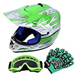 Samger DOT Jugend Kinder Off Road Helm Motocross Helm Dirt Bike ATV Motorradhelm Handschuhe+Brille(Grün, Medio)