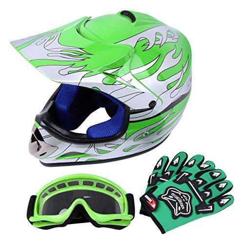 Samger DOT Jugend Kinder Off Road Helm Motocross Helm Dirt Bike ATV Motorradhelm Handschuhe+Brille (L, Grün) -