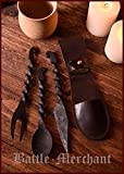 Battle-Merchant Geschmiedetes Essbesteck- 3-teilig Messer, Gabel, Löffel mit Ledertasche - Dekoration - Besteck Mittelalter - Wikinger - LARP