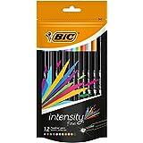 BIC Intensity Stylos Feutres Pointe Fine (0,8 mm) - Couleurs Assorties, Pochette Refermable de 12