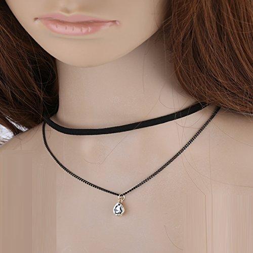 SomStyle (TM) Double-Layer-Hals Gold Halskette Frauen Schmuck Black Velvet-Leder Chockers Ketten Collier Femme (Double-layer Velvet)