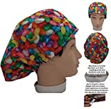Scrub hat theatre cap JELLY BEANS for Long Hair with sweatband and ajutable to your liking Surgery Nurse Veterinary Doctor Dentist Cook