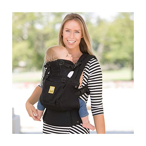 LÍLLÉbaby  Complete Airflow 6-in-1 Baby Carrier, Black Lillebaby Made from breathable mesh fabric to help keep parent and child cool and comfortable and with 6 carrying positions - Foetal, infant inward, outward, toddler inward, hip, back - The only carrier you'll ever need! Suitable from 3.2- 20kg (birth to approx. 4 years old), providing extended comfortable use for parent and child with no additional infant support required for new-borns - the ergonomic adjustable seat is acknowledged as 'hip-healthy' by the International Hip Dysplasia Institute Unique spacious head support with elasticated straps - soothes infants with gentle lulling motion and provides excellent support as children grow 6