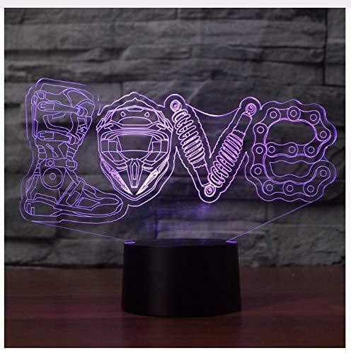 Led Mechanische Liebe Modellierung 3D Led Nachtlicht Mode Kreative 7 Farben Ändern Luminaria Tischlampe Wohnkultur Motorrad Fans Geschenke Licht Box