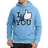 lepni.me Sudadera con Capucha Me Gustas - Pulgar Arriba, Social Media Amor (Medium Azul