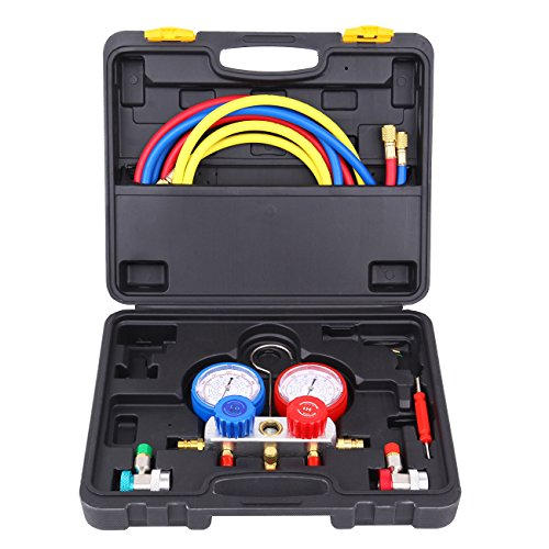 Ambienceo Automotive AC A/C Manifold Gauge Tester R134a R22 R410A R404A (800 Psi Manometer)