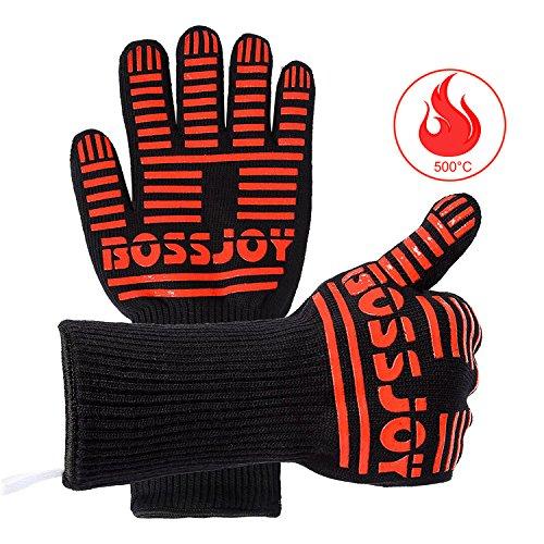 BBQ Grille Handschuhe, Extremer Hitzeschutz von 350°C, kurzzeitig sogar bis 500°C - 1 paar 35,5 cm lang für zusätzliche Unterarmschutz,...