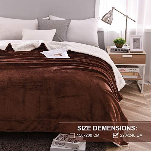 Kuscheldecke Fleecedecke weiche Decke Dicke Wolldecke 220x240cm warme Kuschelige Decke Wohnzimmer aus hochwertige Lammfell Dunkelbraun von OeLIFE