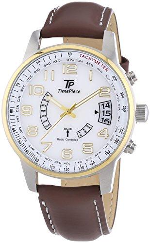 Time Piece Herren-Armbanduhr XL Funk Analog Quarz Leder TPGS-10288-12L