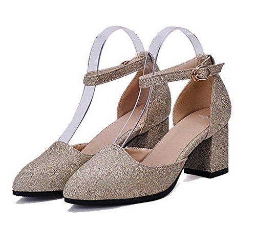 AllhqFashion Femme Boucle Pointu à Talon Correct Tissu à Paillette Chaussures Légeres Doré