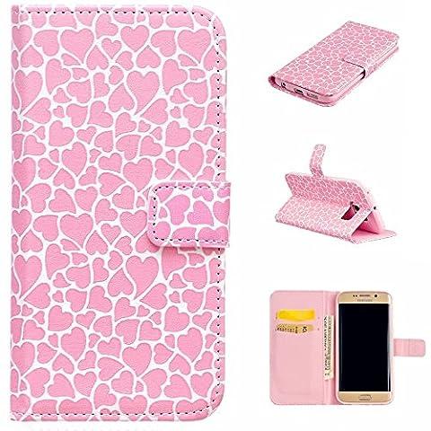 KSHOP Etui Coque pour Samsung Galaxy S6 Edge Pochette Protection PU Cuir Wallet Flip Etui Housse Magnetique Fonction Stand Anti-scratch Carte Slots + Stylet Touch Pen - amour rose
