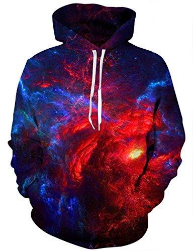 EOWJEED Galaxy Hoodie Pullover Langarm Pullover Für Liebhaber Groß