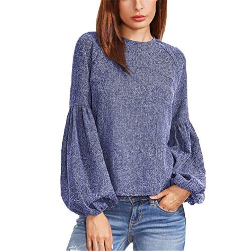 Jianyin Laterne Hülse Zurück Nach Oben Herbst Frauen Langarm Rundhals Bluse Blue's Frauen Tops (Plaid Gewebt Patchwork Shirt)