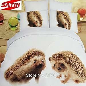 braun 3d tiere igel bettw sche set steppdecke 4 queen size baumwoll bettw sche spannbetttuch. Black Bedroom Furniture Sets. Home Design Ideas