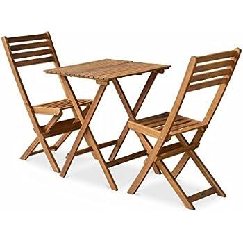 Alice\'s Garden - Salon de Jardin bistrot Pliable - Figueres carré en Bois -  Table carrée 60x60cm avec Deux chaises Pliantes