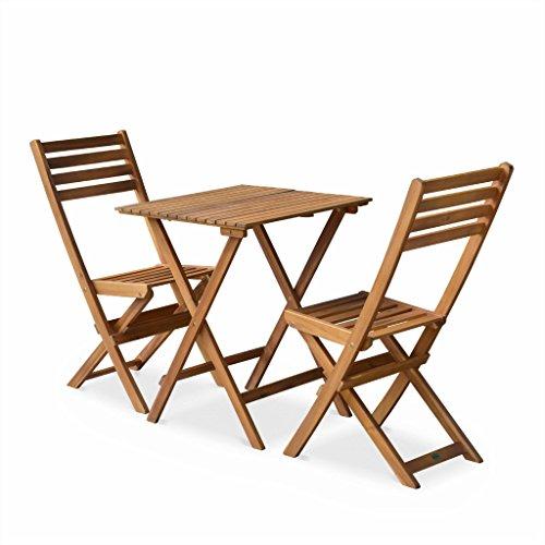 Alice's Garden - Salon de Jardin bistrot Pliable - Figueres carré en Bois - Table carrée 60x60cm avec Deux chaises Pliantes