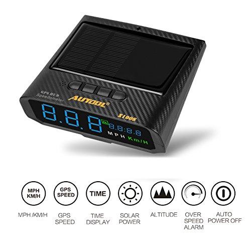 autool Solar GPS HUD Tacho MPH/kmh mit Höhe über Geschwindigkeit Alarm Drive Distanz Ermüdung fahren Alarm für alle Fahrzeuge, OBD2Ladekabel & USB Ladegerät erhältlich
