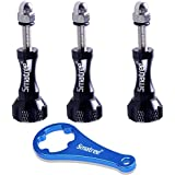 Smatree® alluminio vite lunga 3pcs (nero) + Chiave (blu) per GoPro Hero4 Hero3+ Hero3 Hero2 HD Camcorder / sj4000 Camera