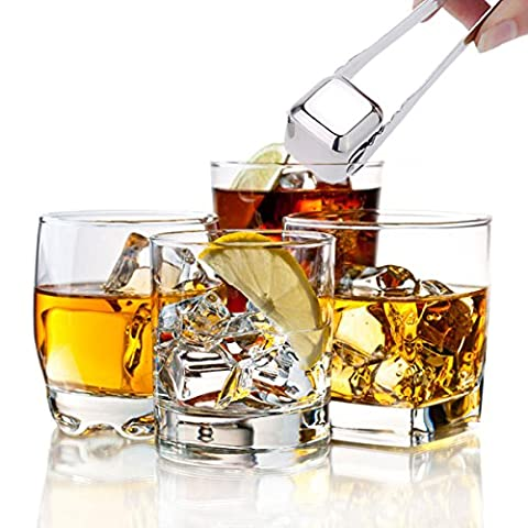 Inovey 8Pcs Acier Inoxydable Whisky Stone Sets Cube Glacier Whiskey Roches Multifonction Ice Rock