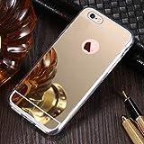 Shinyzone Étui Miroir de Placage pour iPhone 5S/iPhone 5/iPhone Se,Maquillage Miroir de Luxe Caoutchouc Souple [Technologie de Galvanoplastie] Coque Arrière Réfléchissante-Or