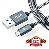 #7: Mivi 6ft long Nylon Tough Micro USB Cable with charging speeds up to 2.4Amps (Black)