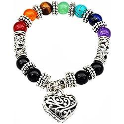 Mehrunnisa 7 Chakra Healing Gemstones Bracelet With Heart Charm - Unisex (JWL1657)
